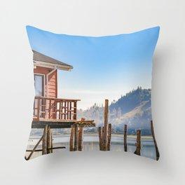 Palafito Houses at Lake, Chiloe, Chile Throw Pillow