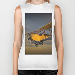 Yellow Biplane with Sunset Cloudy Sky Biker Tank