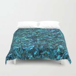 Abalone Shell | Paua Shell | Sea Shells | Patterns in Nature | Cyan Blue Tint | Duvet Cover