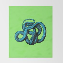 Snek 1 Snake Teal Turquoise Lime Green Throw Blanket