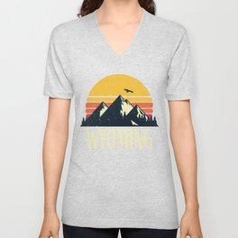 Wyoming Retro Vintage State Mountain Sunset Unisex V-Neck