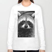 racoon Long Sleeve T-shirts featuring Racoon B & W by Heidi Ingram