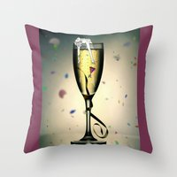 champagne Throw Pillows featuring Champagne by CokecinL