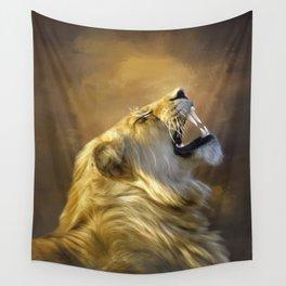 Roaring lion portrait Wall Tapestry