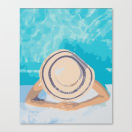 Poolside Sunning Canvas Print