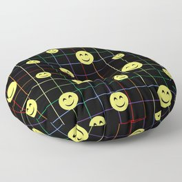 Colorful Smiley Emoji 4 - black Floor Pillow