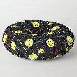 Colorful Smiley Emoji 4 - black Floor Pillow