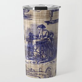 Vintage Sewing Toile Travel Mug