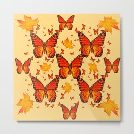 AUTUMN LEAVES & MONARCH BUTTERFLIES ART Metal Print