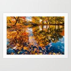 Boston Fall Foliage Reflection Art Print