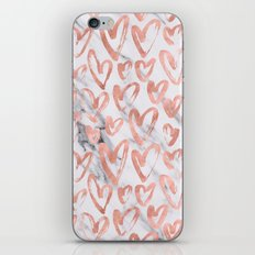 Valentines Day Rose Gold Marble Hearts Pattern Romantic iPhone & iPod Skin