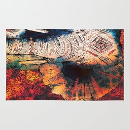 Indian Sketched Elephant Red Orange Rug