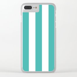 Verdigris blue - solid color - white vertical lines pattern Clear iPhone Case