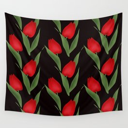 Tulips on black . Wall Tapestry