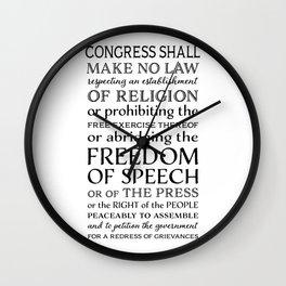 First Amendment Fundamental Freedoms Wall Clock