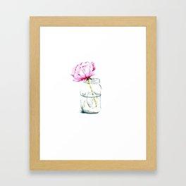 Pink peony in a mason jar Framed Art Print