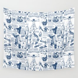 Da Vinci's Anatomy Sketchbook // Dark Blue Wall Tapestry