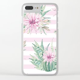 Rose Stripe Succulents - Pink and Mint Green Cactus Pattern Clear iPhone Case