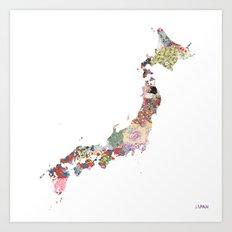 Japan map Art Print