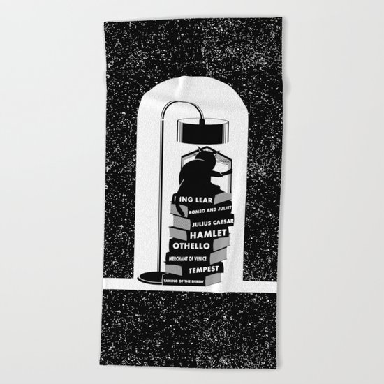 CAT READING SHAKESPEARE Beach Towel