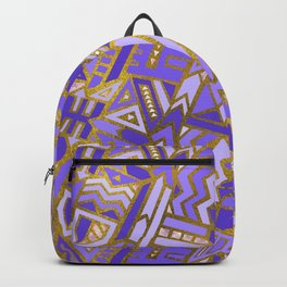 Gold and Rose Quartz Tribal Pattern on Purple Backpack