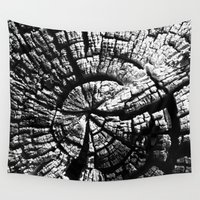 tree rings Wall Tapestries featuring Texture Tree Rings Tree slice Old Tree photograph Natural beauty by Treelovergirl