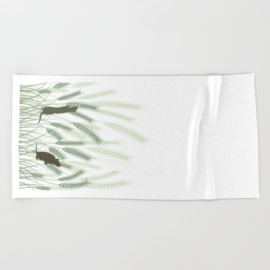 Mice In The Grain No. 1 Beach Towel