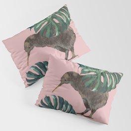 Kiwi Bird with Monstera in Pink Pillow Sham