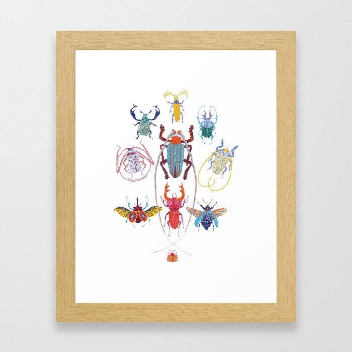 Stitches: Bugs Framed Art Print