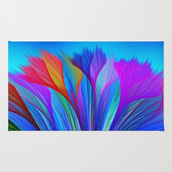 Flower Fantasy in Blue Rug
