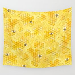 Meant to Bee - Honey Bees Pattern Wall Tapestry