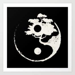 Ying Yang Bonsai Tree Enso Circle Zen Art Print