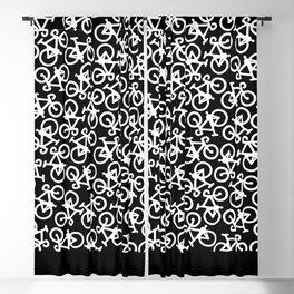 Black and White Bikes Pattern Blackout Curtain