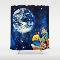 """coke Shower Curtains featuring """"A Coke and a Smile"""" by TRASH RIOT"""
