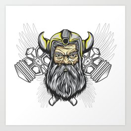 Looking For An Ancient Rome T-shirt Design? Here's A Strong Brave Barbarian T-shirt Design Hammer Art Print