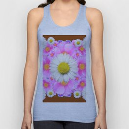 Chocolate Brown Color Shasta Daisies & Rose Pattern Garden Art Unisex Tank Top
