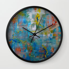 Modern Abstract Wall Art, A NEW Look, Blue vivid colors, living room wall art Wall Clock