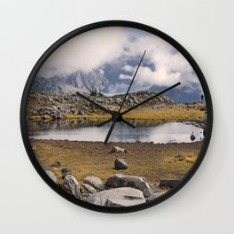 BLUE AND GOLD MOUNTAIN SOLITUDE Wall Clock