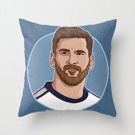 Messi Portrait Cartoon Throw Pillow