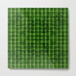 Forest Green and Lime Velvety Gingham Faux Suede Metal Print