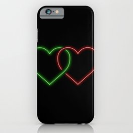 Intertwined Neon Love Hearts Green and Red iPhone Case