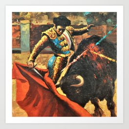 Plaza de Toros de Pamplona, Spanish Bull Fighting portrait painting Art Print