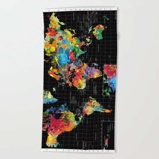 Abstract World Map Black Beach Towel