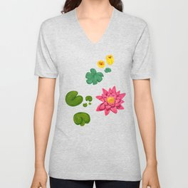 Lily pads and lilies Unisex V-Neck