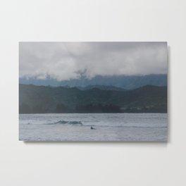 Lone Surfer - Hanalei Bay - Kauai, Hawaii Metal Print