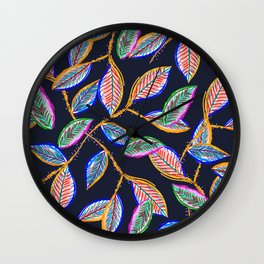 Nocturnal Leaves Wall Clock