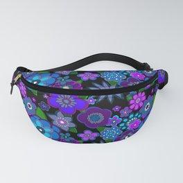 Yesterday People Super groovy Flowers dark base purple Fanny Pack