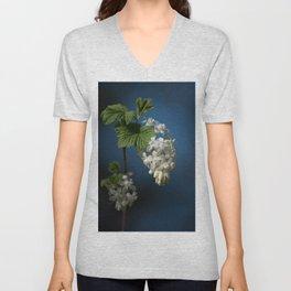 Understated Luminary      White Flowering Currant Bloom Unisex V-Neck