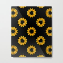 Black and Gold Sunflower Mandala Fractals - Moroccan style Metal Print