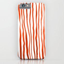 Vertical watercolor lines - orange iPhone Case